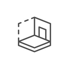 House 3D modeling line icon