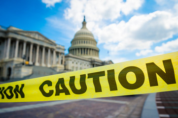 Caution tape condoning off the Capitol Building in Washington DC, USA