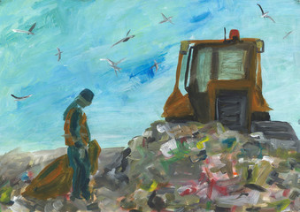 Worker at city garbage dump. Laborer in uniform with trash bag. Social problem illustration. Soil contamination, environmental protection. Abstract acrylic painting. Handpainted artwork.