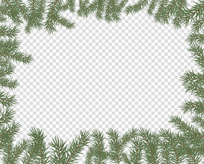 Vector illustration of a frame of fir branches. New year, merry Christmas spruce conifer decor, border pattern on isolated transparent background.