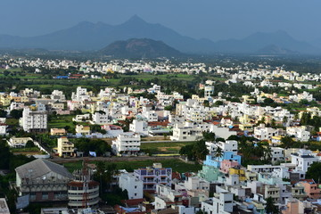 Namakkal, Tamilnadu - India - October 17, 2018: Namakkal town over a hillock