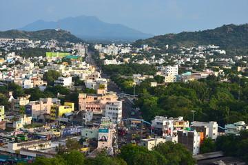 Namakkal, Tamilnadu - India - October 17, 2018: Panoramic View of Namakkal from Hillock
