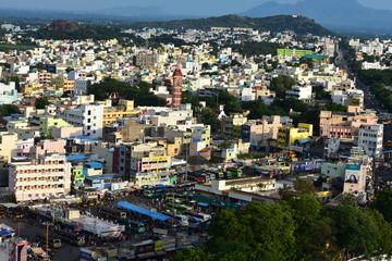 Namakkal, Tamilnadu - India - October 17, 2018: Panoramic View of Namakkal
