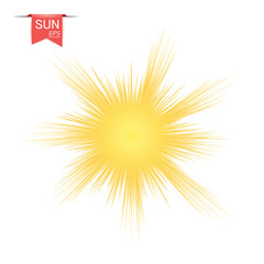 The sun yellow abstract. With sunburst effect, flash, explosion. Vector design element isolated on white background.