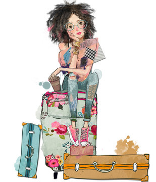 summer young woman with suitcases