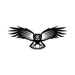Vector, flat image of the attacking owl, in flight with open wings, black and white, on an isolated white background