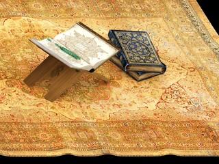 3d render of holy book, Koran and carpet decor