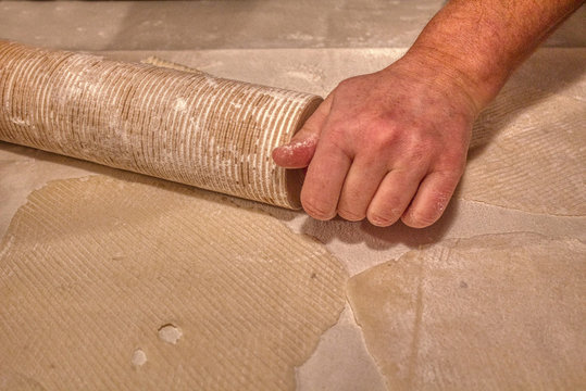 Traditional Scandinavian Lefse Dough is rolled and cooked on a Griddle