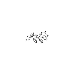 Vector hand drawn object. Kitchen logo element, a sprig of pepper.