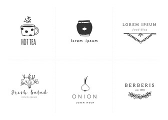 Hand drawn vector objects. Logo templates for kitchen and food.