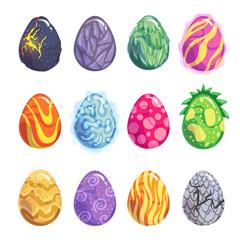 Eggs of fantasy dragon or dinosaur bright set