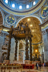 St. Peter's Baldachin from Bernini at St Peter´s basilica, Roma, Italy