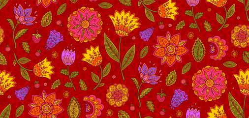 Red vector floral textile seamless pattern with colorful ornate flowers in vintage style