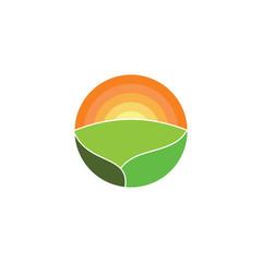 Mountain Lanscape with Sun logo design