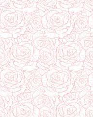 Delicate Hand Drawn Floral Vector Pattern. Light Pink Rose Flowers Isolated on a White Background. Subtle Pastel Color Drawing.  Lovely Repeatable Pattern.