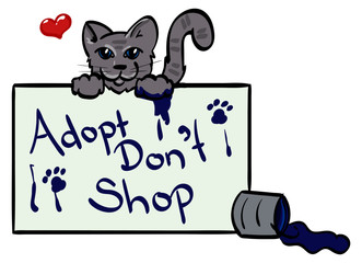 Adopt Don't Shop sign with Cat