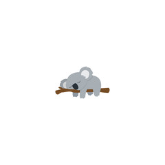 Lazy koala sleeping on a branch flat design, vector illustration