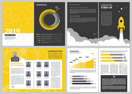 Brochure layout template. Anual report business finance presentation pages vector design project with place for your text. Illustration of presentation project, planning start up launch