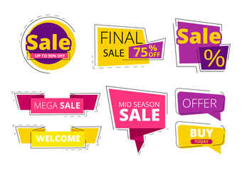 Flat promo banners. Big sale advertizing offers on colored ribbons vector template. Discount and sale, offer promo special illustration