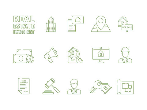 House for sale icons. Realtor rent or selling buildings realty symbols new homeowner vector linear thin pictures. Real estate thin line icon set, residential apartment building illustration