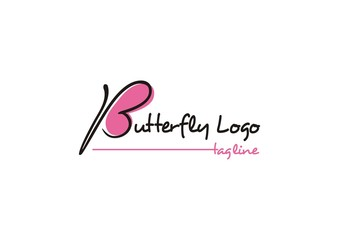 Butterfly logo concept with continuous line of letter b