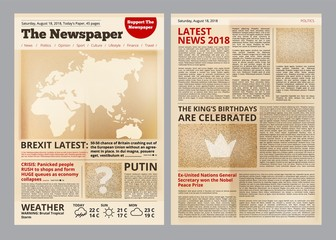 Old newspaper. Vintage antique paper of magazine pages with editing text and images template vector layout. Newspaper antique with text page illustration
