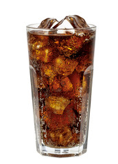 Fototapeta Cola in glass with clear ice cubes isolated on white background