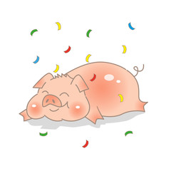 Funny hand-drawn pig. Bright colorful confetti. Chinese New Year. The year of the pig.