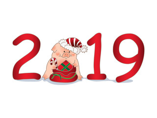 Funny hand-drawn pig in Santa's hat with a bag of gifts and candies. Chinese New Year. The year of the pig.