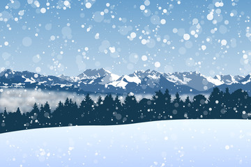 Snowy winter vector background with montains