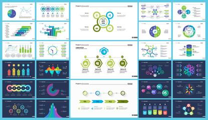 Business inforgraphic slide design set can be used for presentations, annual report, web design. Management concept. Process, option, comparison graphs, area chart, flowchart, donut diagram