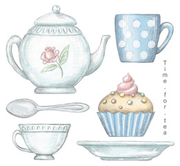 Set with mug, cup, teaspoon, teapot, plate and cupcake isolated on white background. Lead pencil graphic and digital illustration