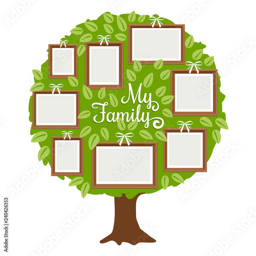 Green Family Tree With Frames For Pictures My Family Card Template