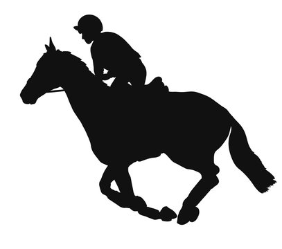 Vector silhouette of a rider in the country cross.