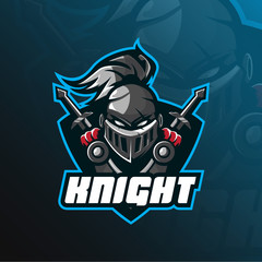 knight mascot logo vector design with modern illustration concept style for badge, emblem and t shirt printing. head knight illustration with shield and sword.