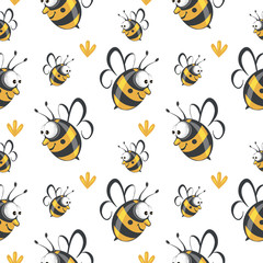 Cute seamless bee pattern vector.