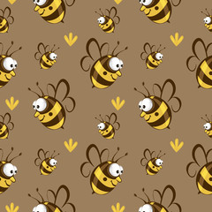 Cute seamless bee pattern