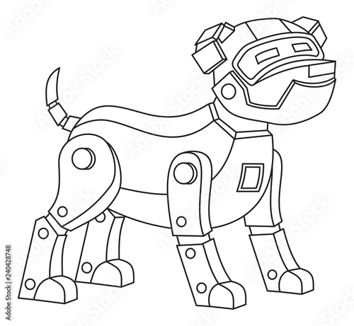 robot dog printable coloring page for kids stock image and royalty free vector files on. Black Bedroom Furniture Sets. Home Design Ideas