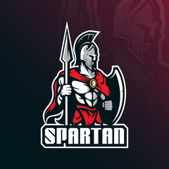 spartan mascot logo vector design with modern illustration concept style for badge, emblem and t shirt printing. spartan illustration with shields and spears.