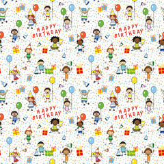 birthday wrapping paper , seamless pattern with kids illustration