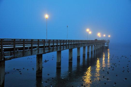 Kaliningrad oblast town of Zelenogradsk, the winter of 2018, evening, fog, waterfront.