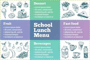 School lunch box menu template. Sketches of food