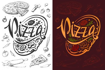 Pizza logo or food poster design. Vector template