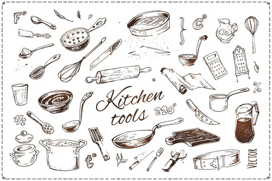 Hand drawn kitchen tools isolated vector icons set