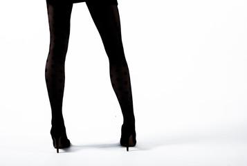 silhouette of wman legs. Studio