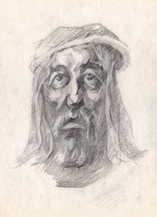 The portraiture of don Quixote, who is in mental torments and in the throes of public misunderstanding.Graphic pencil portrait. The head of a man painted with graphite on paper.Academic tonal drawing.