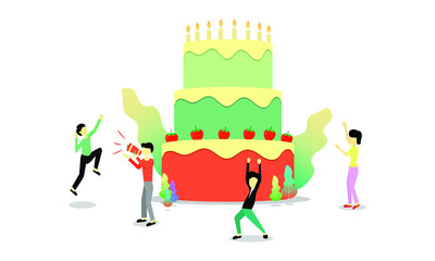 Group of people celebrate jobs with cake and candle vector illustration