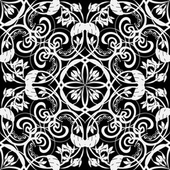 Black and white vintage Damask seamless pattern. Vector ornamental monochrome ornate background. Elegance hand drawn line art tracery mandala ornament with swirls, flowers, leaves. Repeat backdrop.