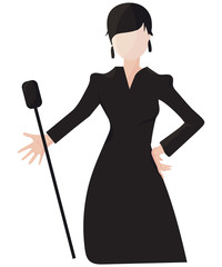 Vintage Romance or Cabaret singer girl or woman isolated illustration. Lady Singer during female classical music performance or concert with retro microphone.