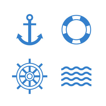 Nautical icons. Anchor, lifebuoy, ship steering wheel, waves vector icon set. Modern minimal flat design style